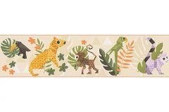 30306-2 cikkszámú tapéta.Absztrakt,állatok,gyerek,rajzolt,barna,fehér,fekete,lila,narancs-terrakotta,sárga,zöld,papír bordűr