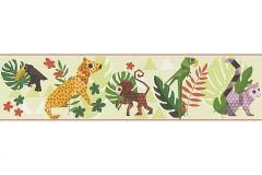 30306-3 cikkszámú tapéta.Absztrakt,állatok,gyerek,rajzolt,barna,bézs-drapp,fehér,fekete,lila,narancs-terrakotta,sárga,zöld,papír bordűr
