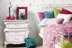 2192-13 cikkszámú tapéta.állatok,dekor,gyerek,fehér,pink-rózsaszín,lemosható,illesztés mentes,vlies tapéta