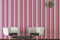 30288-2 cikkszámú tapéta.Gyerek,csíkos,dekor,fehér,pink-rózsaszín,piros-bordó,szürke,lemosható,illesztés mentes,vlies tapéta