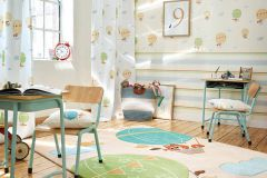 30295-3 cikkszámú tapéta.állatok,gyerek,kék,narancs-terrakotta,sárga,zöld,lemosható,vlies tapéta