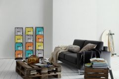 35694-1 cikkszámú tapéta.Absztrakt,gyerek,fehér,sárga,szürke,zöld,gyengén mosható,illesztés mentes,papír tapéta