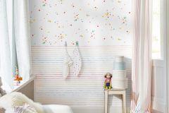 35696-2 cikkszámú tapéta.Absztrakt,dekor,gyerek,különleges motívumos,kék,narancs-terrakotta,pink-rózsaszín,piros-bordó,sárga,zöld,gyengén mosható,illesztés mentes,papír tapéta