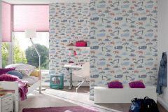 35706-2 cikkszámú tapéta.Gyerek,fehér,kék,piros-bordó,szürke,lemosható,vlies tapéta