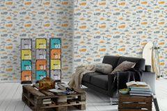 35706-3 cikkszámú tapéta.Gyerek,narancs-terrakotta,szürke,lemosható,vlies tapéta