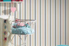 35707-3 cikkszámú tapéta.Csíkos,dekor,gyerek,narancs-terrakotta,szürke,lemosható,illesztés mentes,vlies tapéta