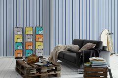 35707-4 cikkszámú tapéta.Csíkos,dekor,gyerek,kék,szürke,lemosható,illesztés mentes,vlies tapéta