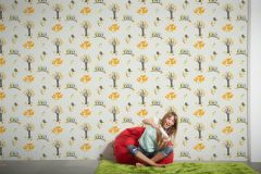 94115-1 cikkszámú tapéta.állatok,gyerek,virágmintás,barna,kék,narancs-terrakotta,sárga,zöld,lemosható,vlies tapéta