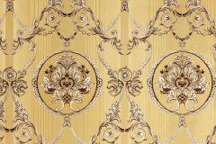 33083-1 cikkszámú tapéta.Barokk-klasszikus,csíkos,metál-fényes,arany,barna,súrolható,vlies tapéta