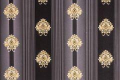 33084-6 cikkszámú tapéta.Barokk-klasszikus,csíkos,metál-fényes,arany,fekete,szürke,súrolható,illesztés mentes,vlies tapéta