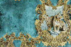 33543-5 cikkszámú tapéta.állatok,metál-fényes,arany,barna,türkiz,súrolható,vlies tapéta
