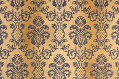 33545-4 cikkszámú tapéta.Barokk-klasszikus,metál-fényes,arany,barna,kék,súrolható,vlies tapéta