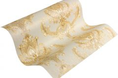 33546-3 cikkszámú tapéta.Barokk-klasszikus,különleges motívumos,metál-fényes,arany,bézs-drapp,súrolható,vlies tapéta