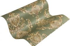 33546-4 cikkszámú tapéta.Barokk-klasszikus,metál-fényes,arany,barna,zöld,súrolható,vlies tapéta