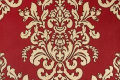 34143-5 cikkszámú tapéta.Barokk-klasszikus,különleges felületű,különleges motívumos,metál-fényes,bézs-drapp,piros-bordó,súrolható,vlies tapéta