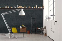 9078-82 cikkszámú tapéta.Kőhatású-kőmintás,fekete,szürke,lemosható,vlies tapéta