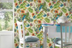 30015-1 cikkszámú tapéta.állatok,különleges motívumos,természeti mintás,bézs-drapp,kék,narancs-terrakotta,piros-bordó,zöld,súrolható,papír tapéta