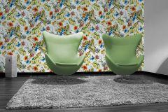 30015-2 cikkszámú tapéta.állatok,különleges felületű,természeti mintás,kék,narancs-terrakotta,piros-bordó,zöld,súrolható,papír tapéta
