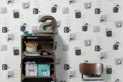 32733-4 cikkszámú tapéta.Feliratos-számos,konyha-fürdőszobai,különleges felületű,fehér,fekete,szürke,lemosható,vlies tapéta