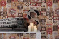 33480-1 cikkszámú tapéta.Feliratos-számos,konyha-fürdőszobai,különleges felületű,barna,bézs-drapp,fehér,piros-bordó,gyengén mosható,papír tapéta