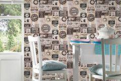 33480-3 cikkszámú tapéta.Feliratos-számos,konyha-fürdőszobai,különleges felületű,rajzolt,barna,bézs-drapp,gyengén mosható,papír tapéta