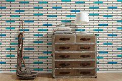 34278-2 cikkszámú tapéta.3d hatású,konyha-fürdőszobai,kőhatású-kőmintás,különleges felületű,metál-fényes,fehér,fekete,kék,türkiz,lemosható,papír tapéta