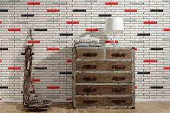 34278-3 cikkszámú tapéta.3d hatású,konyha-fürdőszobai,kőhatású-kőmintás,különleges felületű,metál-fényes,fehér,fekete,piros-bordó,szürke,lemosható,papír tapéta