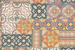 34300-1 cikkszámú tapéta.Konyha-fürdőszobai,különleges felületű,marokkói ,metál-fényes,bézs-drapp,fekete,kék,narancs-terrakotta,pink-rózsaszín,piros-bordó,sárga,lemosható,papír tapéta