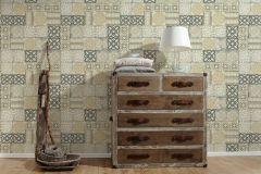 34300-2 cikkszámú tapéta.Konyha-fürdőszobai,különleges felületű,marokkói ,metál-fényes,ezüst,sárga,szürke,zöld,lemosható,papír tapéta