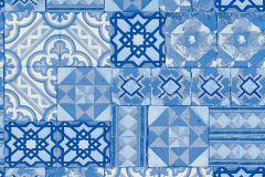 34300-3 cikkszámú tapéta.Konyha-fürdőszobai,különleges felületű,marokkói ,metál-fényes,ezüst,fehér,kék,lemosható,papír tapéta