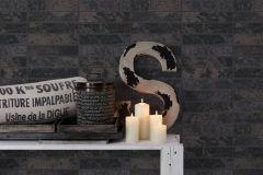 34818-4 cikkszámú tapéta.Csillámos,konyha-fürdőszobai,kőhatású-kőmintás,különleges felületű,ezüst,fekete,lemosható,papír tapéta