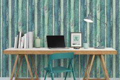 36282-1 cikkszámú tapéta.Fa hatású-fa mintás,különleges felületű,fekete,kék,türkiz,zöld,súrolható,illesztés mentes,vlies tapéta