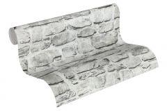 36370-1 cikkszámú tapéta.Konyha-fürdőszobai,kőhatású-kőmintás,különleges felületű,fehér,szürke,súrolható,vlies tapéta