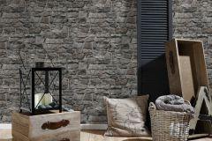36370-4 cikkszámú tapéta.Konyha-fürdőszobai,kőhatású-kőmintás,különleges felületű,barna,fekete,szürke,súrolható,vlies tapéta