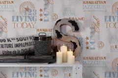 36812-1 cikkszámú tapéta.Feliratos-számos,különleges felületű,bronz,fehér,kék,szürke,lemosható,vlies tapéta