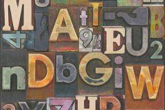 36871-1 cikkszámú tapéta.3d hatású,dekor,feliratos-számos,különleges felületű,arany,barna,kék,narancs-terrakotta,piros-bordó,súrolható,illesztés mentes,vlies tapéta