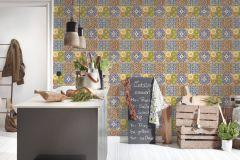 36895-1 cikkszámú tapéta.Konyha-fürdőszobai,különleges felületű,marokkói ,bézs-drapp,fehér,kék,piros-bordó,zöld,súrolható,vlies tapéta