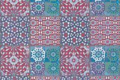 36895-2 cikkszámú tapéta.Konyha-fürdőszobai,különleges felületű,marokkói ,fehér,kék,piros-bordó,zöld,súrolható,vlies tapéta