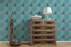 36895-3 cikkszámú tapéta.Konyha-fürdőszobai,különleges felületű,marokkói ,fehér,kék,türkiz,zöld,súrolható,vlies tapéta