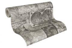 6643-27 cikkszámú tapéta.Absztrakt,különleges felületű,fehér,szürke,súrolható,papír tapéta