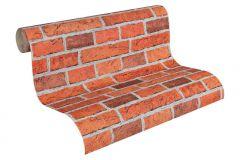 7798-16 cikkszámú tapéta.Konyha-fürdőszobai,kőhatású-kőmintás,különleges felületű,narancs-terrakotta,piros-bordó,gyengén mosható,papír tapéta