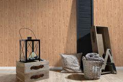 7799-15 cikkszámú tapéta.Fa hatású-fa mintás,különleges felületű,barna,gyengén mosható,illesztés mentes,papír tapéta