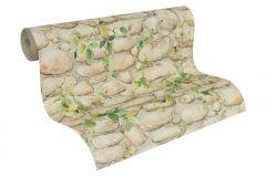 8344-16 cikkszámú tapéta.Konyha-fürdőszobai,kőhatású-kőmintás,különleges felületű,természeti mintás,barna,bézs-drapp,zöld,gyengén mosható,papír tapéta