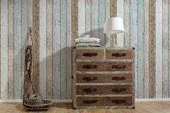 8999-27 cikkszámú tapéta.Fa hatású-fa mintás,különleges felületű,barna,bézs-drapp,kék,gyengén mosható,illesztés mentes,papír tapéta