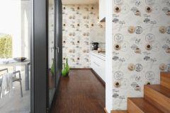 94308-1 cikkszámú tapéta.Feliratos-számos,konyha-fürdőszobai,különleges felületű,barna,fehér,fekete,szürke,súrolható,illesztés mentes,papír tapéta