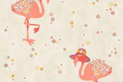 36291-2 cikkszámú tapéta.állatok,gyerek,virágmintás,bézs-drapp,fehér,lila,narancs-terrakotta,sárga,gyengén mosható,vlies tapéta