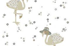 36291-3 cikkszámú tapéta.állatok,gyerek,virágmintás,bézs-drapp,fehér,fekete,szürke,gyengén mosható,vlies tapéta