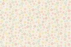 36292-2 cikkszámú tapéta.Dekor,gyerek,virágmintás,kék,narancs-terrakotta,sárga,szürke,türkiz,zöld,gyengén mosható,illesztés mentes,vlies tapéta