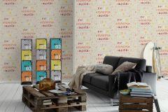 36293-2 cikkszámú tapéta.Feliratos-számos,gyerek,virágmintás,barna,fehér,narancs-terrakotta,piros-bordó,sárga,gyengén mosható,vlies tapéta