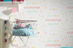 36293-3 cikkszámú tapéta.Feliratos-számos,gyerek,virágmintás,fehér,kék,narancs-terrakotta,pink-rózsaszín,sárga,szürke,türkiz,zöld,gyengén mosható,vlies tapéta